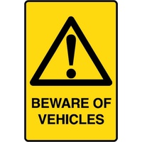 "26W-LM ""BEWARE OF VEHICLES"" Sign - 225 x 300mm Metal"