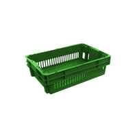 26L Plastic Crate Stack & Nest Vented Container 578 X 384 X 166Mm Ih2267 - Green