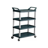 135kg Rated Rated Hi-5 4 Shelf Utility Cart, 103.2cm x 50.8cm x 129.5cm - Black