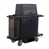 GRANDMAID Housekeeping Cart with Doors and Protective Security Hood - 152.4cm x 55.9cm x 171cm -Black