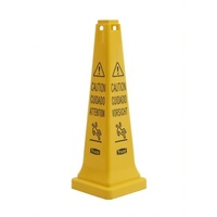 Caution Wet Floor Safety Cone - 31.1cm x 31.1cm x 91.4cm - Yellow