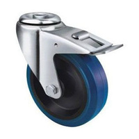 180kg Rated Blue Rubber Castor - 125mm - Bolt Hole With Brake