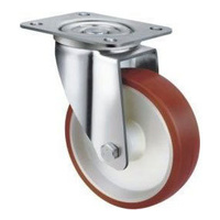 140kg Rated Grey Rubber Castor - 80mm - Swivel Plate