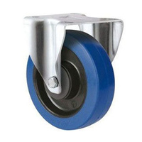 250kg Rated Blue Rubber Castor - 125mm - Fixed
